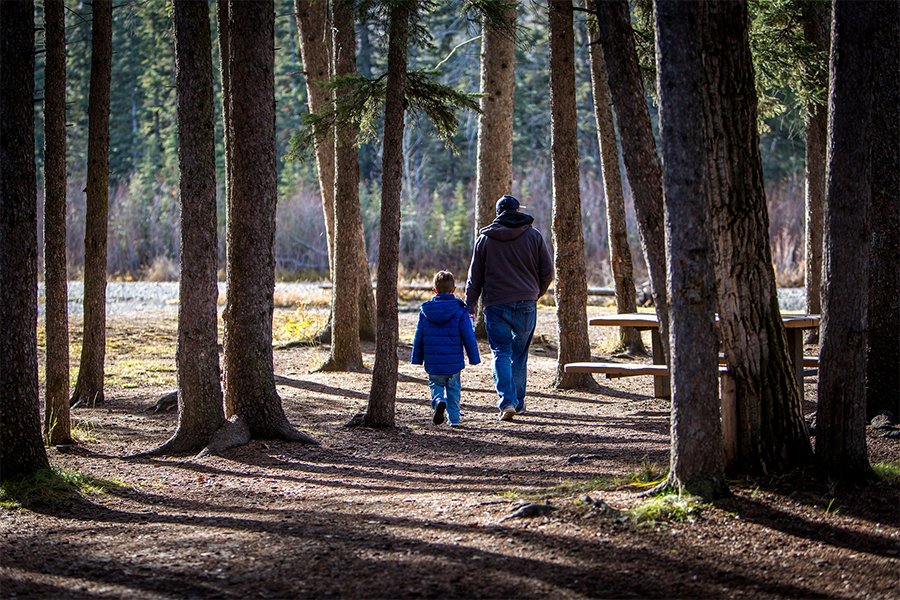 Parent and child in the woods after talking to a divorce lawye